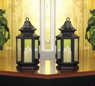 Set of 2 Black Stagecoach Style Lantern Western Decor Wedding Centerpieces