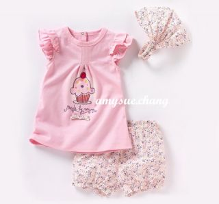 3PCS Baby Kid Girl T Shirt Top Pants Headband Outfit Clothes Pink Cake 0 36M