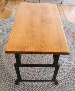 Antique Industrial Style Cast Iron Metal Wood End Tables Old School Desks