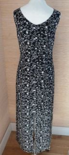 Laura Ashley Womens Long Sleeveless Summer Black Dress White Embroidery Sz 6
