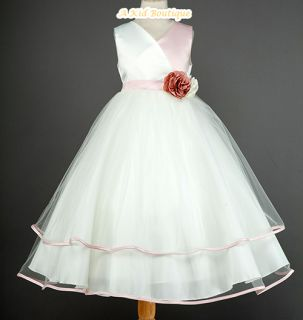 Pageant Wedding 2 Tone Layered Tulle Flower Girl Dusty Rose Ivory Dress Sz 2 14
