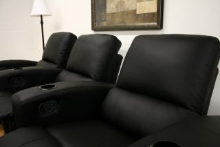 3 Black Home Theater Seating Recliner Chair Movie Seats Recline Chairs
