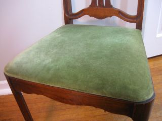 Exquisite Antique Burl Mahogany Green Velvet Arts Crafts Art Nouveau Chair
