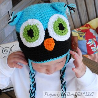 BonEful RTS New Boutique Crochet Knit s Unisex Baby Girl Boy Owl Blue Winter Hat