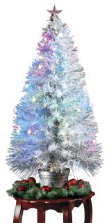"White 48"" Fiber Optic Pre Lit Christmas Tree"