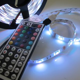 Decorate 5M Waterproof RGB SMD 5050 150 LED Strip with 44 IR Remote DC 12V