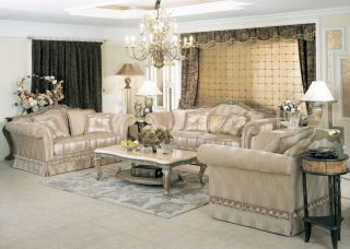 Jacqueline Luxury Sofa Loveseat Chair Tables 5 Piece Living Room Furniture Set