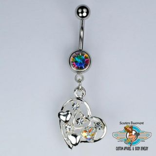 Heart Dangle Belly Ring Bar CZ and Aurora Borealis Heart Navel Ring 14g A32