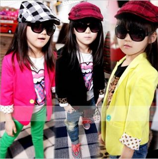 2013 Girls Toddler Candy Color Slim Fit Small Suit Korean Style Jacket Kids Coat