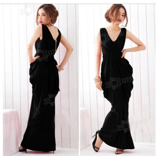Hot Sexy Women's Backless V Neck Lace Bow Slim Skirt Ultra Long Evening Dress