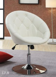 New Clemson Contemporary Tufted Bycast Leatherette Chrome Swivel Accent Chair
