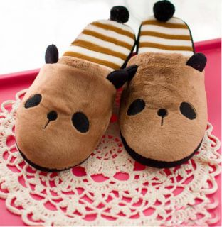 Cute Panda with Tail Men Women Warm Soft Winter Slippers Girl Slipper