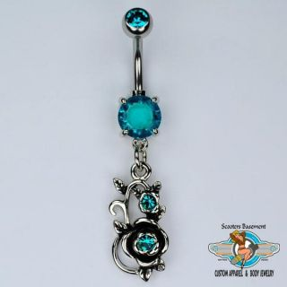 Rose Dangle Belly Ring Bar Blue Ice CZ Flower Navel Ring 14g A21