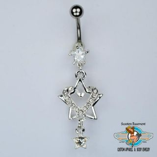 Heart Wrapped Star Belly Ring Heart and Stars Dangle Navel Ring B17