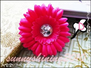 "20 4"" Gerbera Daisy Crystal Flowers Clips Baby Hair Bow 10 Colors"