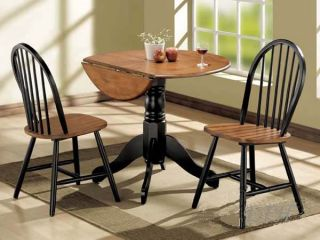 New 3pc Black Cherry Wood Round Dinette Table Set