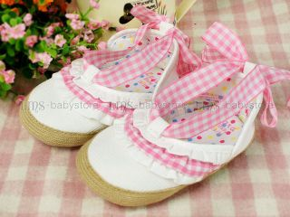 New Toddler Baby Girl White Pink Ribbon Shoes EU 19 20 A796