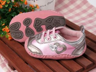 New Toddler Baby Girl Pink Silver Hard Sole Sneakers Walking Shoes 6 9 12 Months