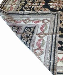 8'x10' Hand Woven Wool French Aubusson Flat Weave Black Area Rug