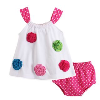 2pcs New Baby Girl Infant Flower Top Pants Polka Dot Shorts Outfit Clothes 0 6M
