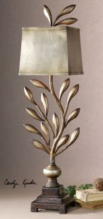 Sculpted Metal Leaf Buffet Table Lamp Antiqued Gold Silver Champagne Lighting