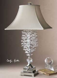 Glamorous Glass Crystal Table Lamp Silver Metal Accents Bell Shade Horchow
