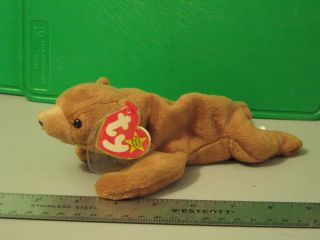 Ty Stuffed Animal Toy Cubbie Brown Bear Beanie Baby 1993 4010 Retired