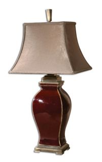 Burgundy Ceramic Table Lamp Bronze Metal Accents Taupe Bell Shade Lighting New