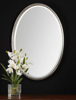 Brushed Nickel Oval Wall Mirror Vanity Bathroom Mantel Large 32""