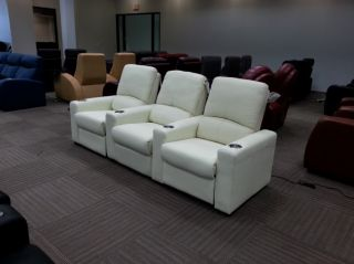 Seatcraft Eros Home Theater Seating Row of 3 Cream Push Back Recliners