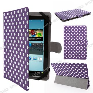 "Leather Case Cover Stand for 110"" Capacitive Multi Touch Android 4 0 Polka Dot"