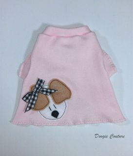 Pink Puppy with Bow Dog T Shirt Clothes XXXS Medium