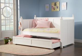 Kids Teen Emily White Wood Day Bed with Storage Trundle
