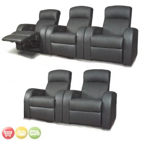 Home Theater Seating Reclining Black Leather 5 Chairs