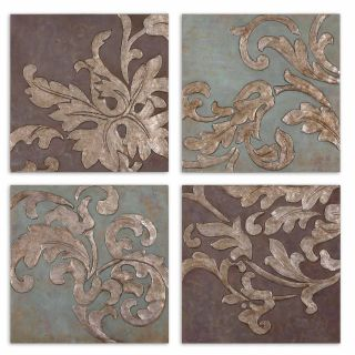 Damask Relief Blocks s 4 Hand Painted Oil Plaques Wall Hanging Art Home Decor