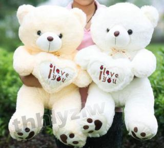Loverly I Love You Love Heart Teddy Bear Soft Cotton Toy 70 cm White