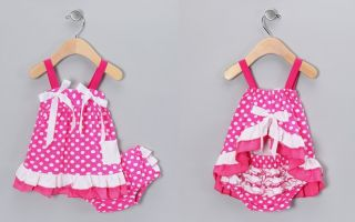 Baby Infant Girl Ruffle Vest Dress Bloomers Pants Set Pink Cow Sky Blue