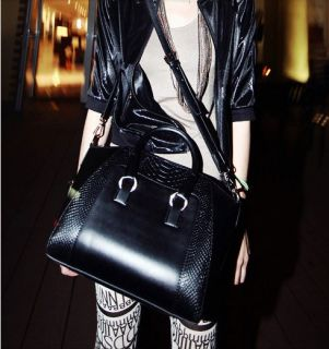 Korean PU Leather Crocodile Pattern Shoulder Bag Messenger Bag Portable Big Bag