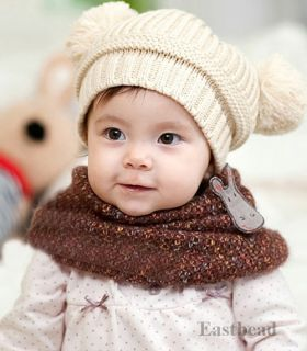Lovely Fashion Baby Dual Ball Girls Boys Knit Sweater Cap Winter Hat 4 Colors