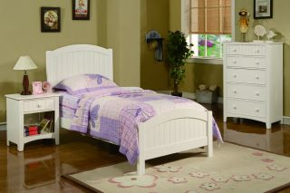 Cottage White Wood Girls Kids Twin Panel Bed Youth Room Furniture