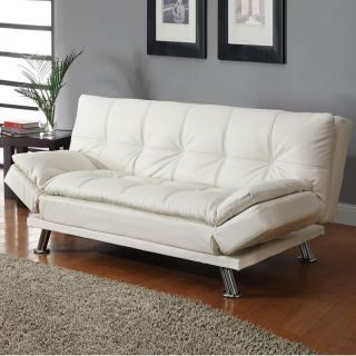 Contemporary White Faux Leather Pillow Top Seating Futon Sleeper Sofa Bed Couch