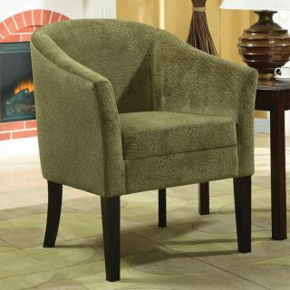 Pistachio Microvelvet Tapered Wood Legs Accent Chair Removable Seat Cushion