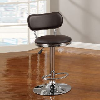 Air Lift Chorme Metal Adjustable Swivel Barstool Counter Stool Brown PVC Seat