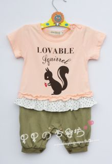 Dear Squirrel Baby Boy Girl Grow Short Sleeved Bodysuit Romper Onesie Jumpsuit