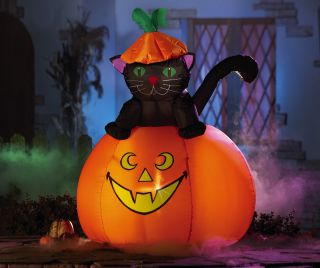 Large Inflatable Halloween Black Cat Pumpkin Cute Outdoor Yard Prop Light