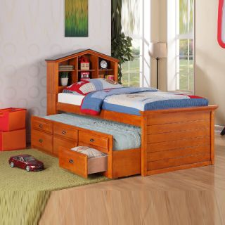 White Walnut Girls Kids House Bookcase Headboard Combotrundle Drawer Twin Bed