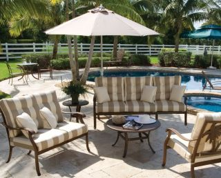 Outdoor Dining 7 Piece Dark Bronze Swivel Rocker Chairs Table Coco Palm