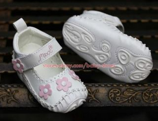 White Floral Baby Girl Sandals Newborn Infant Mary Jane Crib Shoes US Size 1 2 3