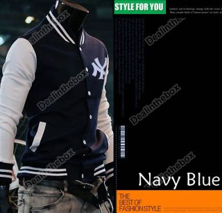 "Mens Baseball Uniform Slim Designed Fit Coat Jacket Outerwear Trendy ""NY"" Hot"