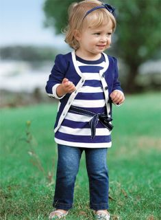 Kids Baby Girls Coat Stripe T Shirt Denim Jeans Pants 3pcs Sets Outfit 6M 5Y